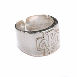 Bishop's items: Bishop Ring with Chi-Rho, Alpha and Omega in silver 800