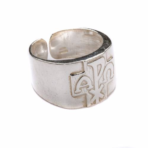 Bishop Ring with Chi-Rho, Alpha and Omega in silver 800 s1