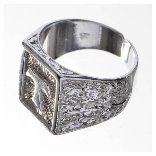 Bishop's ring, burnished 800 silver with Tau s3