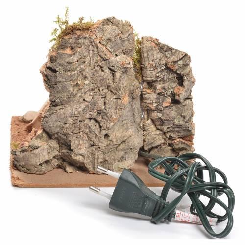Bivacco rustico con fuoco a corrente per presepe 12x15x15 cm 3