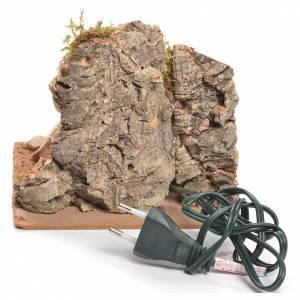 Bivouac rustique avec feu électrique pour crèche 12x15x15cm s3