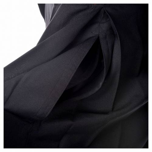 Black cassock in pure wool with covered buttons s5