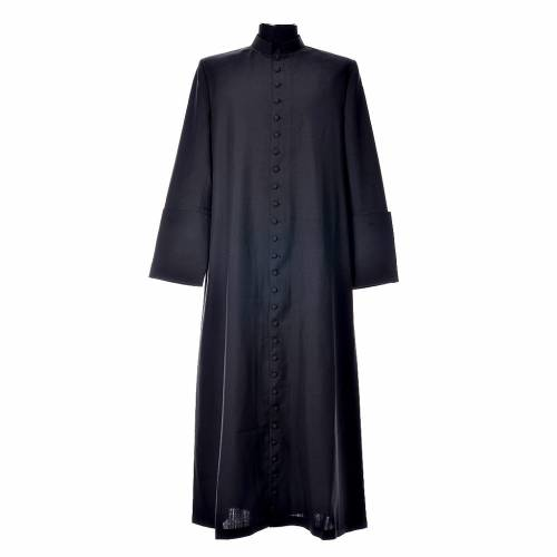 Black cassock in pure wool with covered buttons s1