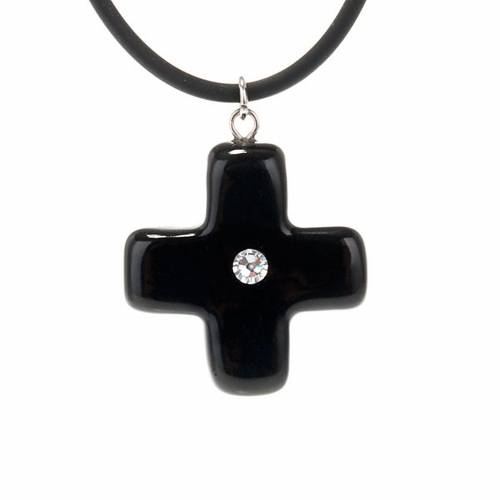 Black cross pendant with Swarovski s1