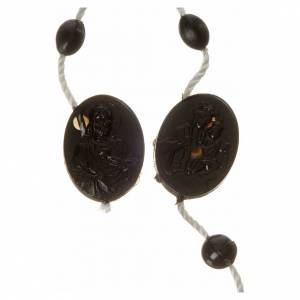Economical rosaries: Black nylon rosary, centerpiece easy to open