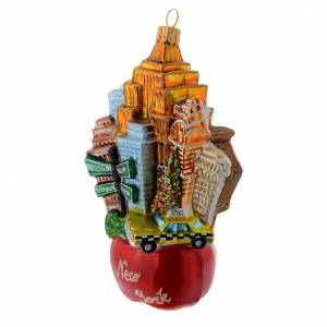 Blown glass ornaments: Blown glass Christmas ornament, New York landscape with apple