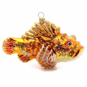 Blown glass ornaments: Blown glass Christmas ornament, red lionfish