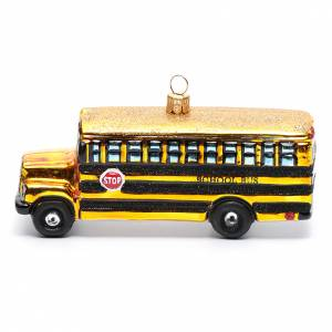 Blown glass ornaments: Blown glass Christmas ornament, school bus