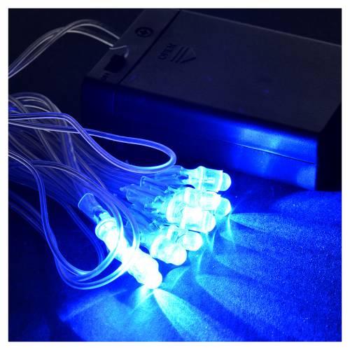 Blue LED lights, battery powered, 10 bulbs s2