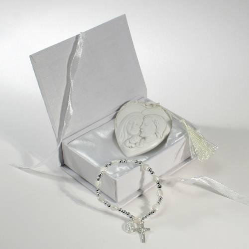 Boîte livre 11x8 cm Bracelet chapelet cadre Ste Famille s1