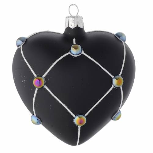 Bola de Navidad corazón de vidrio negro satinado y piedras 100 mm s2