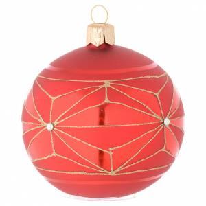 Bola de Navidad de vidrio con decoraciones geométricas doradas 80 mm s1