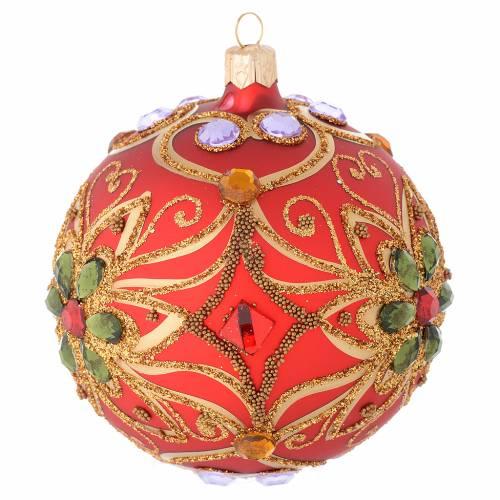 Bola de Navidad de vidrio rojo y decoración floral verde 100 mm s2