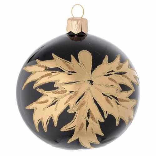 Bola de Navidad de vidrio soplado con hojas doradas 80 mm s1