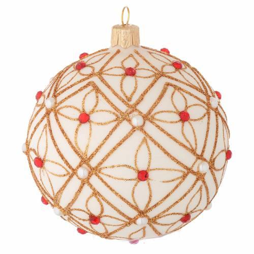 Bola de Navidad de vidrio soplado marfil decoraciones oro y rojo 100 mm s2