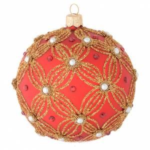 Bola de Navidad de vidrio soplado rojo con perlas y decoraciones oro 100 mm s2