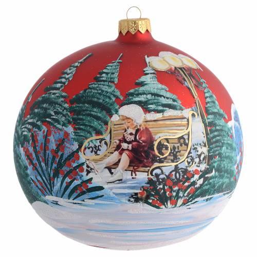 Bola de Navidad roja con niña decoupage 150 mm s1