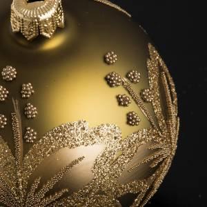 Bola de Navidad vidrio dorada con flores de 8cm s3