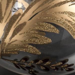 Bolas de Navidad: Bola de navidad vidrio soplado transparente flor fucsia dorada 1