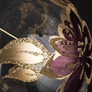 Bola de Navidad vidrio transparente, dorado y viola de 10cm s3