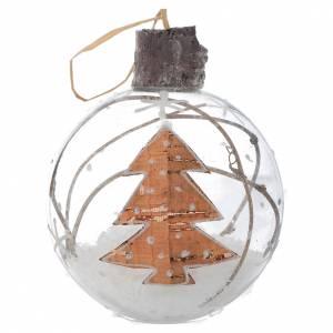 Bolas de Navidad: Bola de vidrio árbol de Navidad 80 mm con nieve