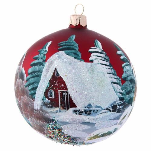 Bola Árbol de Navidad 100 mm burdeos y casitas s1