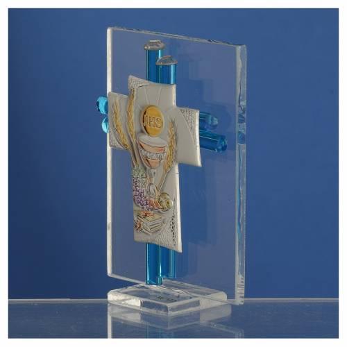 Bomboniera Comunione Croce vetro Murano acquamarina Arg. h. 8 cm s3