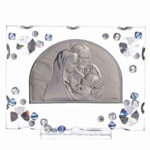 Bomboniera matrimonio quadro S. Famiglia Swarovski blu s1
