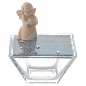 Bomboniere e ricordini: Bomboniera scatolina vetro 8x8 angelo legno blu