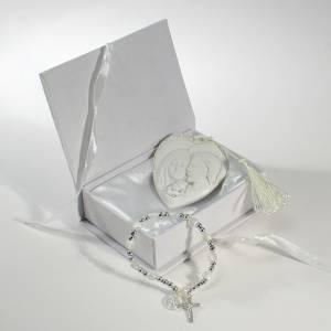 Bonbonniere: Bonbonniere Box mit Rosenkranz Armband und Heilige Familie Bild