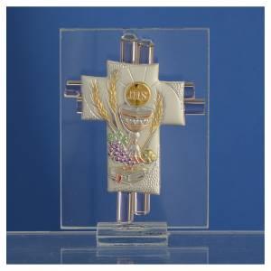 Bonbonnière Communion croix verre Murano rose arg h 8 cm s2