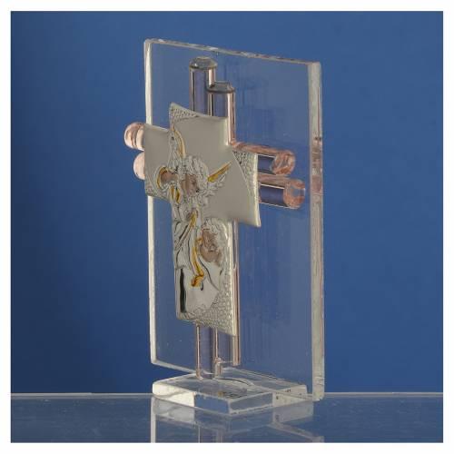 Bonbonnière Croix anges verre Murano rose et argent h 8 cm s3