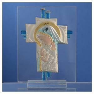 Bonbonnière Naissance croix verre Murano aigue-marine h 10,5 cm s2