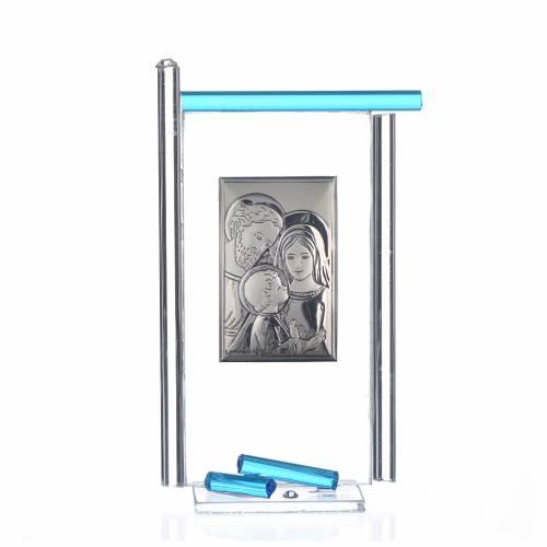 Bonbonnière Ste Famille arg. verre Murano aigue-marine 13x8 cm s1