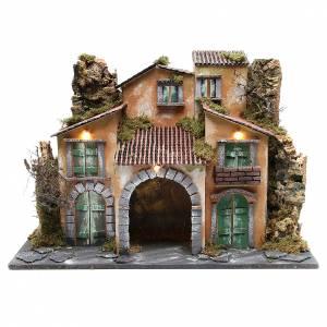 Capanne Presepe e Grotte: Borgo con capanna 43x60x34 cm con 10 luci a batteria