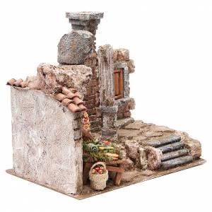 Borgo con colonna e banchetto presepe 28x30x20 cm s3