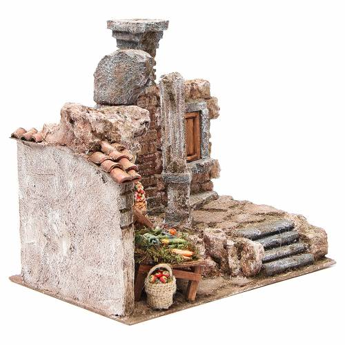 Borgo con colonna e banchetto presepe 28x30x20 cm 3