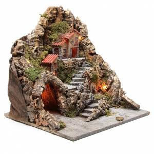 Borgo con grotta fontana presepe napoletano 40x34x40 cm s3