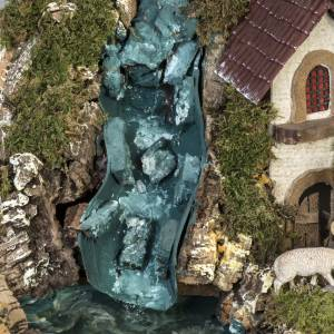Borgo illuminato presepe con capanna, cascate, mulino s8