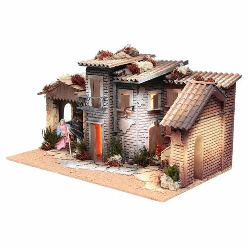 Borgo presepe con natività 12 cm movimento 28x60x35 cm s2