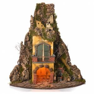 Presepe Napoletano: Borgo presepe napoletano stile 700 angolare con fontana 64x38x38