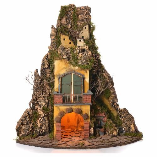 Borgo presepe napoletano stile 700 angolare con fontana 64x38x38 s1
