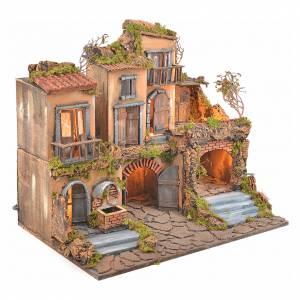 Borgo presepe napoletano stile 700 con fontana e luce 53x60x43 s6