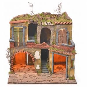Borgo presepe napoletano stile 700 con luce 45x49x37 s5