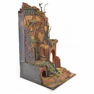 Borgo presepe napoletano stile 700 torre scale luce 65x45x37 s7