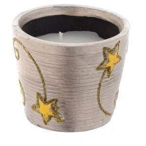 Bougie Noël Golden Stars pot rond s1
