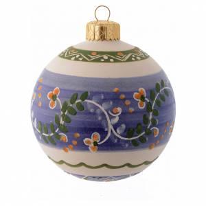 Décorations sapin bois et pvc: Boule de Noël avec bande en terre cuite 80 mm bleu