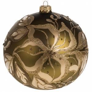 Boule de Noel dorée verre décoré 15 cm s1