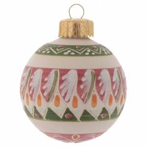 Décorations sapin bois et pvc: Boule de Noël en terre cuite 60 mm vieux rose