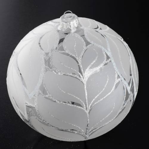 Boule de Noel feuilles argentées 15 cm s2